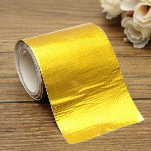 80cm x 5cm Roll Adhesive Reflective Gold High Temperature Heat Shield Wrap Tape